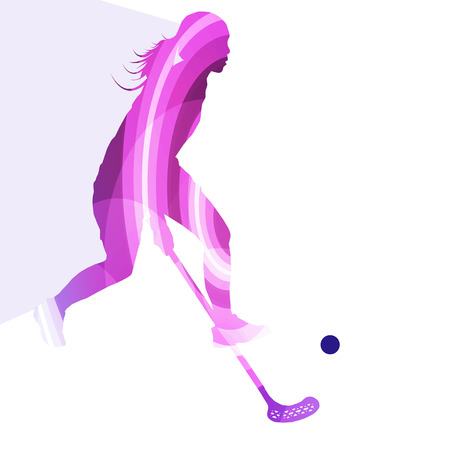 Floorball player woman silhouette hockey with stick and ball illustration vector background colorful concept made of transparent curved shapes Illustration