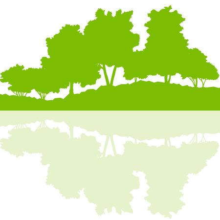 Waldbäume der wilden Natur, Landschaft, Abbildung Silhouetten Hintergrund Vektor-Ökologie-Konzept mit abstrakten Überlegungen in Wasser für Plakat