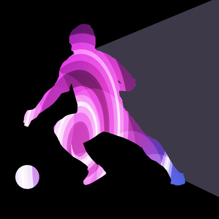 head shot: Soccer football player silhouette vector background colorful concept made of transparent curved shapes
