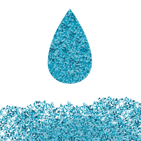 fragments: Blue ecology water drop vector background concept made of fragments