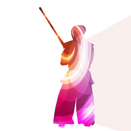 kendo: Kendo training sport man silhouette illustration vector background colorful concept made of transparent curved shapes