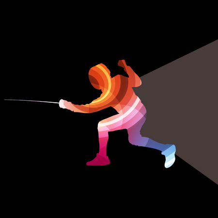 rebellion: Fencing man silhouette vector background colorful concept made of transparent curved shapes
