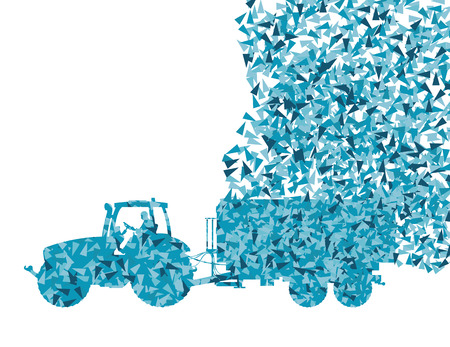 harrow: Tractor with trailer vector background concept made of fragments isolated on white Illustration