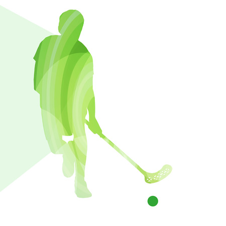 hockey: Floorball player man silhouette hockey with stick and ball illustration vector background colorful concept made of transparent