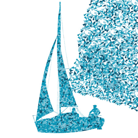 crew: Sailing yacht, boat ship vector background concept made of fragments for poster Illustration