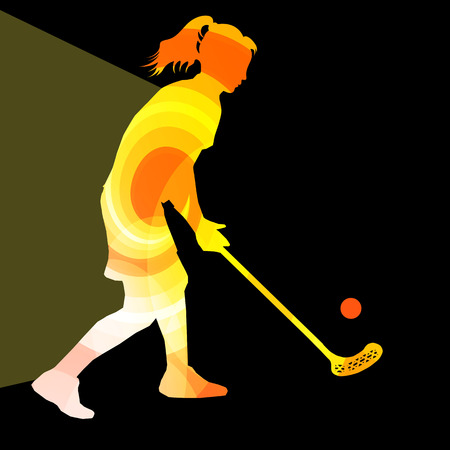 Floorball player woman silhouette hockey with stick and ball illustration vector background colorful concept made of transparent curved shapes 矢量图像