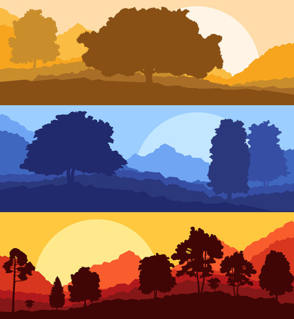 orange abstract: Forest wood mountain background vector set concept landscape for poster