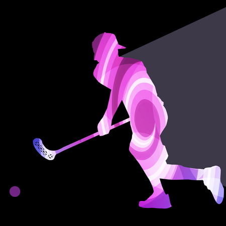 floor ball: Floorball player man silhouette hockey with stick and ball illustration vector background colorful concept made of transparent