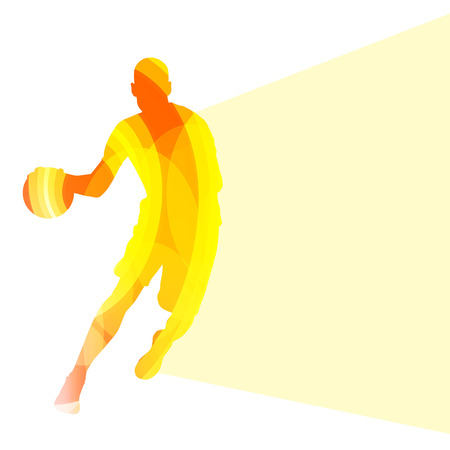 basketball shot: Basketball player man silhouette illustration vector background colorful concept made of transparent curved shapes