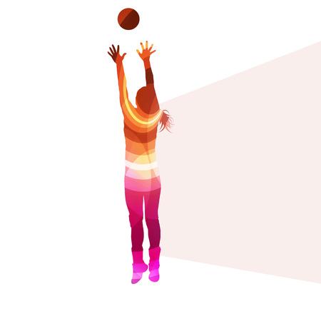 투명한 곡선 모양으로 만든 여자 여자 배구 선수 실루엣 벡터 배경 다채로운 개념