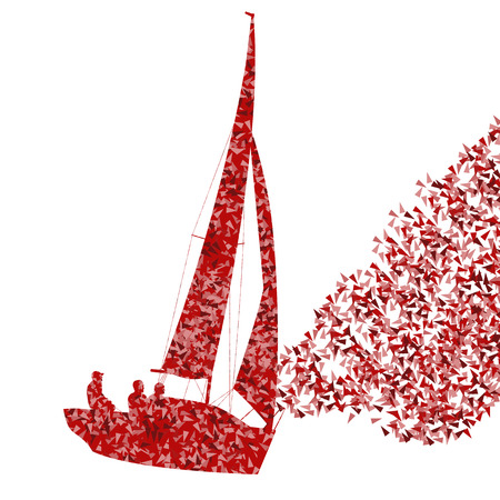 fragments: Sailing yacht, boat ship vector background concept made of fragments for poster Illustration