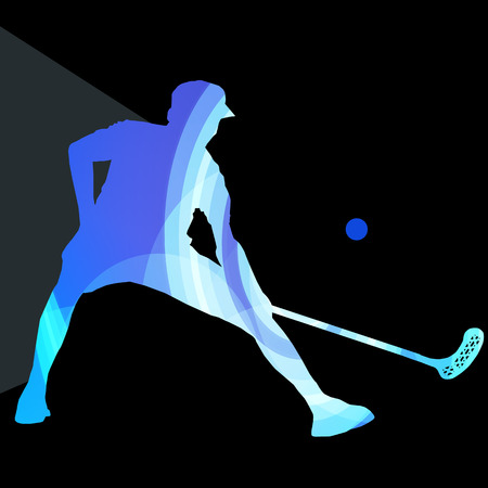 floorball: Floorball player man silhouette hockey with stick and ball illustration vector background colorful concept made of transparent