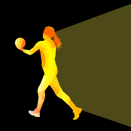 setter: Woman female volleyball player silhouette vector background colorful concept made of transparent curved shapes