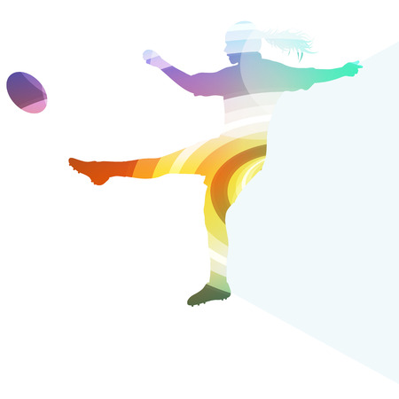 football tackle: Rugby woman player silhouette vector background colorful concept made of transparent curved shapes