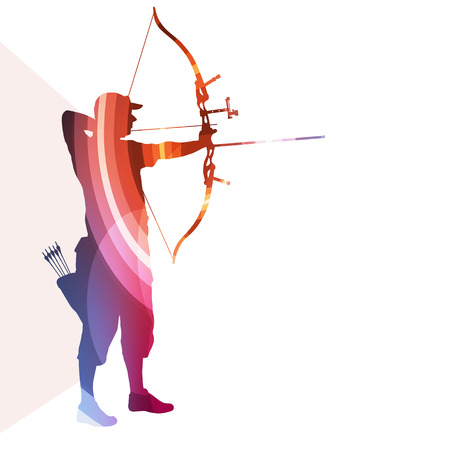 bow and arrow: Archer training bow man silhouette illustration vector background colorful concept made of transparent curved shapes Illustration
