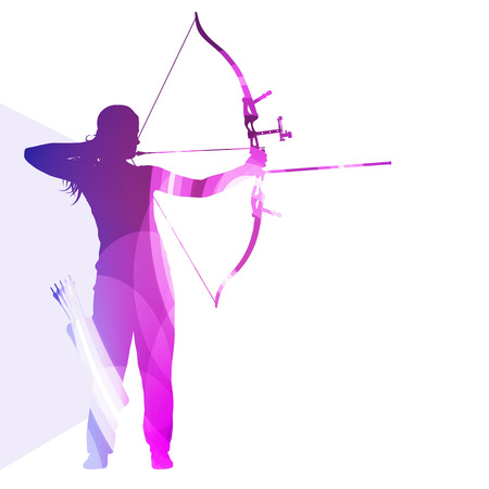 Archer training bow man silhouette illustration vector background colorful concept made of transparent curved shapes Stock Illustratie