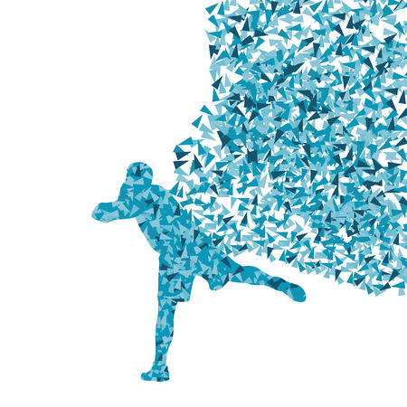 shot put: Male sport athletic ball throwing, shot put silhouettes abstract illustration background vector concept made of fragments