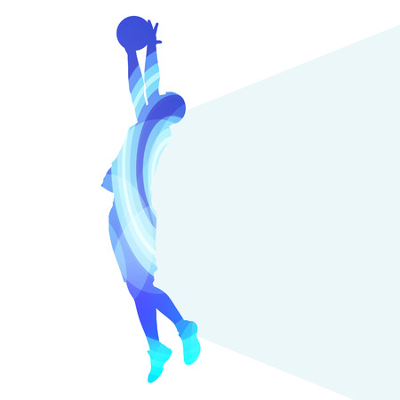 action sports: Basketball player man silhouette illustration vector background colorful concept made of transparent curved shapes