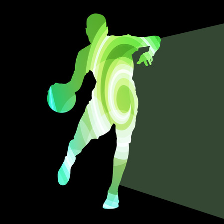 Basketball player man silhouette illustration vector background colorful concept made of transparent curved shapes