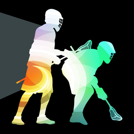 lacrosse: Lacrosse player in protective gear and in action man silhouette illustration vector background colorful concept made of transparent curved shapes