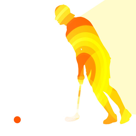 action sports: Floorball player man silhouette hockey with stick and ball illustration vector background colorful concept made of transparent