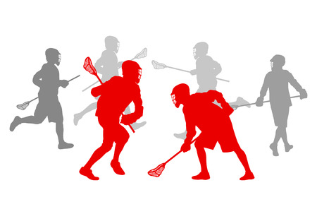 Lacrosse speler in actie winnaar begrip vector achtergrond voor poster Stock Illustratie