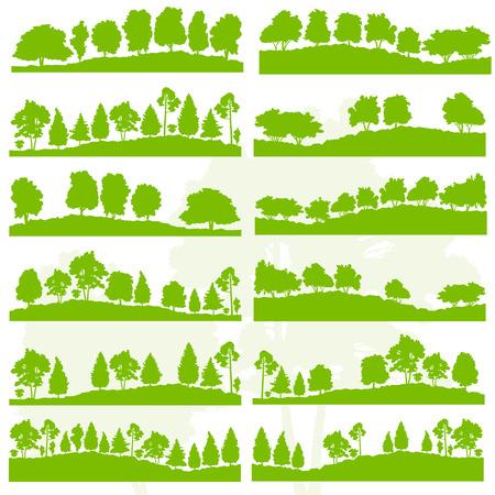 roble arbol: Los árboles forestales y arbustos siluetas naturaleza salvaje fondo colección paisaje ilustración vectorial establecer el concepto de ecología verde para el cartel