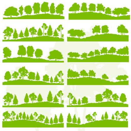 Forest trees and bushes wild nature silhouettes landscape illustration collection background vector set green ecology concept for poster Vettoriali