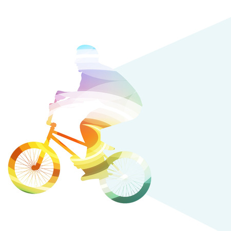 silueta ciclista: Ciclistas extremos abstracto bicicleta jinete silueta concepto colorido del vector del fondo hecha de formas transparentes curvas Vectores
