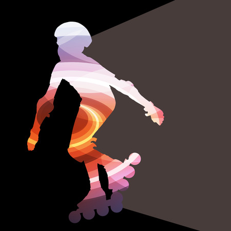 inline skating: Man, teenage boy driving with inline skates, skating vector background colorful concept made of transparent curved shapes