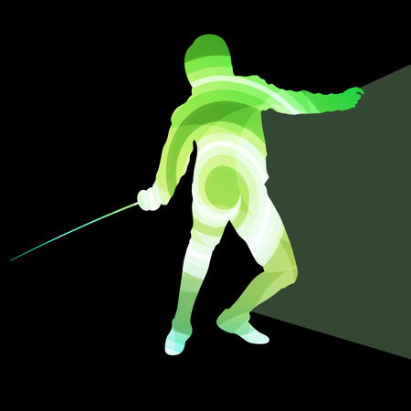 pentathlon: Fencing man silhouette vector background colorful concept made of transparent curved shapes