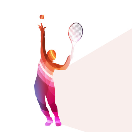 tennis serve: Woman tennis silhouette vector background colorful concept made of transparent curved shapes