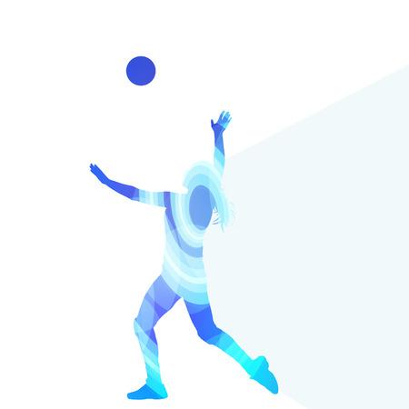 pelota de voleibol: Jugador de voleibol femenino silueta concepto de fondo colorido del vector de la mujer hecha de formas transparentes curvas