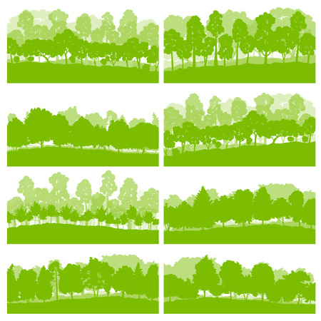 illustration collection: Forest trees and bushes wild nature silhouettes landscape illustration collection background vector set green ecology concept for poster Illustration