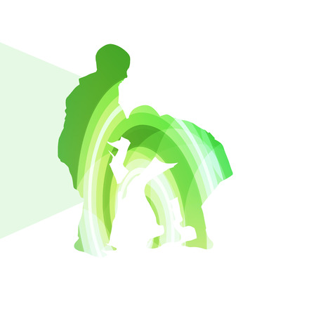 Judo abstract man silhouette illustration vector background colorful concept made of transparent curved shapes