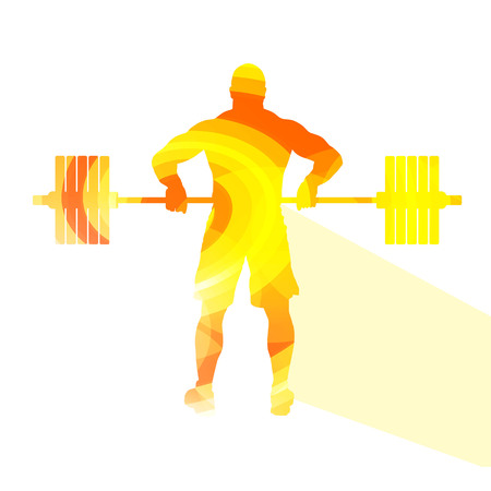 weightlifter: Weightlifter man silhouette illustration vector background colorful concept made of transparent curved shapes Illustration