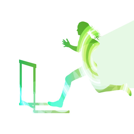 hurdles: Female athlete clearing hurdle, race silhouette illustration, vector background, colorful concept made of transparent curved shapes