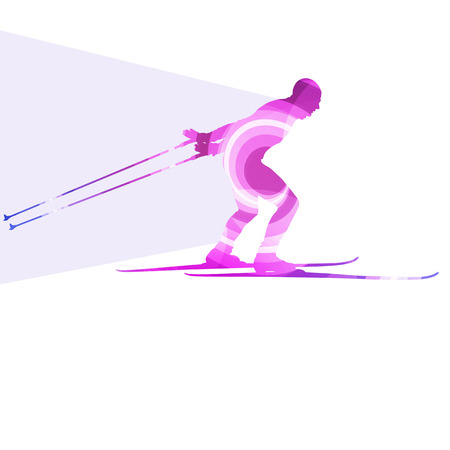 ski: Skiing man silhouette illustration vector background colorful concept made of transparent curved shapes