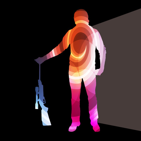 sniper training: Man shooting sport hunting silhouette illustration vector background colorful concept made of transparent curved shapes