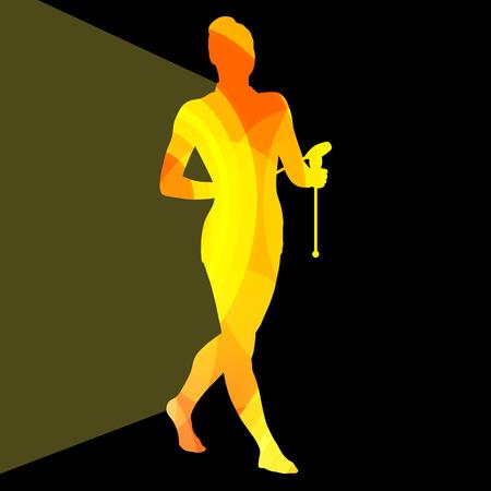 acrobatics: Gimnasia r�tmica moderna mujer joven con clubes de acrobacias silueta ilustraci�n vectorial de fondo colorido concepto hecha de formas curvas transparentes
