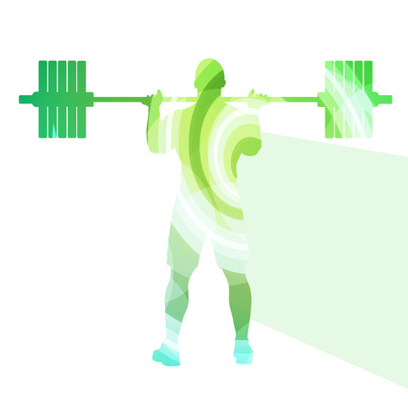 gewichtheffer: Weightlifter man silhouette illustration vector background colorful concept made of transparent curved shapes Stock Illustratie