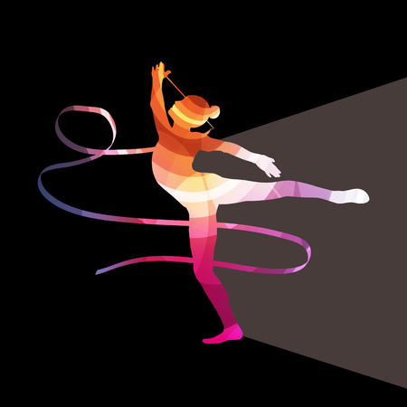gymnastics: Woman art gymnastics with ribbon silhouette illustration vector background colorful concept made of transparent curved shapes