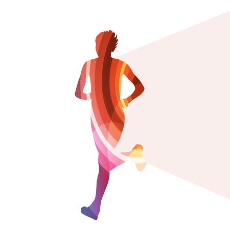 투명한 곡선 모양으로 만든 여자 주자 단거리 선수 실루엣 그림 벡터 배경 다채로운 개념