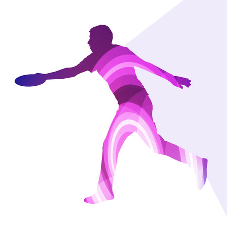 flying man: Man playing throwing flying disc silhouette illustration vector background colorful concept made of transparent curved shapes