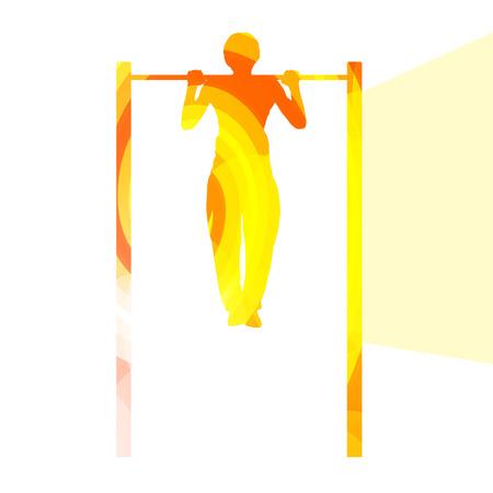 L'uomo facendo pull-up sulla barra silhouette illustrazione vettoriale sfondo colorato concetto fatto di forme curve trasparenti Archivio Fotografico - 45717914
