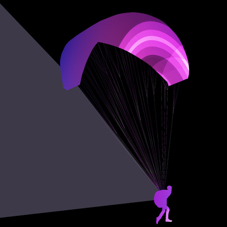 hang gliding: Paraglider flying silhouette illustration vector background colorful concept made of transparent curved shapes