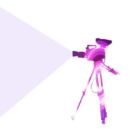 cinematographer: Cameraman with video camera silhouette illustration vector background colorful concept made of transparent curved shapes Illustration