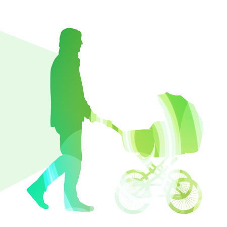 babysitter: Dad with baby strollers, carriage walking man silhouette illustration vector background colorful concept made of transparent curved shapes