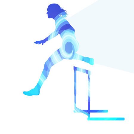athletes: Female athlete clearing hurdle, race silhouette illustration, vector background, colorful concept made of transparent curved shapes
