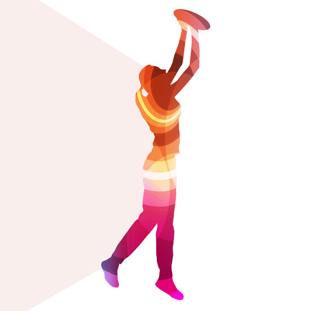 ultimate: Woman playing throwing flying disc silhouette illustration vector background colorful concept made of transparent curved shapes